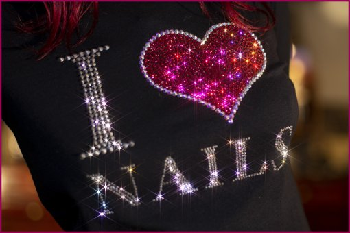Strass Shirt I Herz Nails